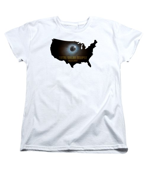 Total Solar Eclipse In United States Map Outline Women's T-Shirt (Standard Fit)