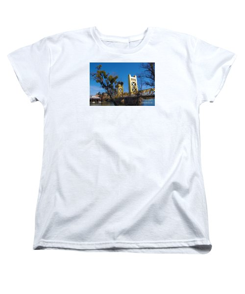 Women's T-Shirt (Standard Cut) featuring the photograph Tower Bridge Old Sacramento by Debra Thompson