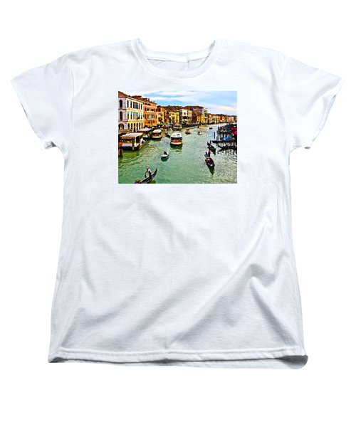 Women's T-Shirt (Standard Cut) featuring the photograph Traghetto, Vaporetto, Gondola  by Tom Cameron