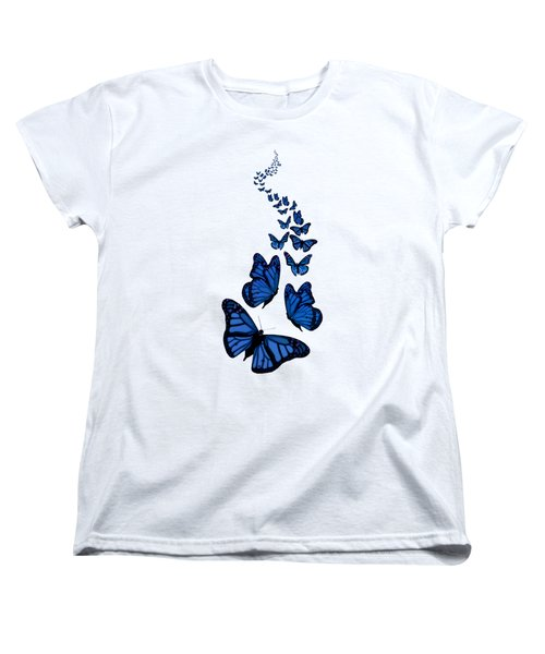 Trail Of The Blue Butterflies Transparent Background Women's T-Shirt (Standard Cut) by Barbara St Jean