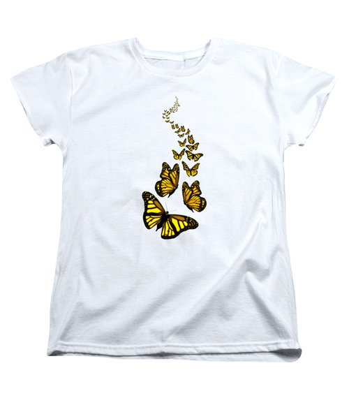 Trail Of The Yellow Butterflies Transparent Background Women's T-Shirt (Standard Cut) by Barbara St Jean