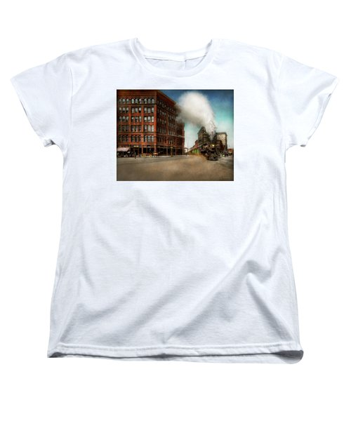 Women's T-Shirt (Standard Cut) featuring the photograph Train - Respect The Train 1905 by Mike Savad