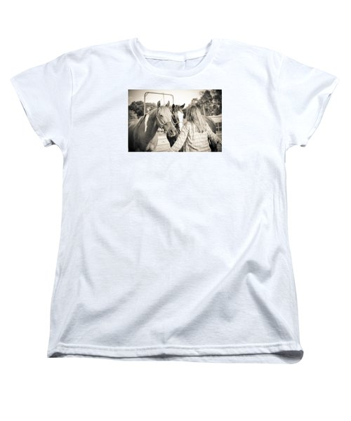 Women's T-Shirt (Standard Cut) featuring the photograph Training The Horses In Sepia by Kelly Hazel
