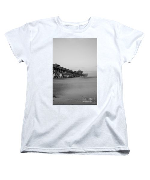 Tranquility At Folly Grayscale Women's T-Shirt (Standard Cut) by Jennifer White