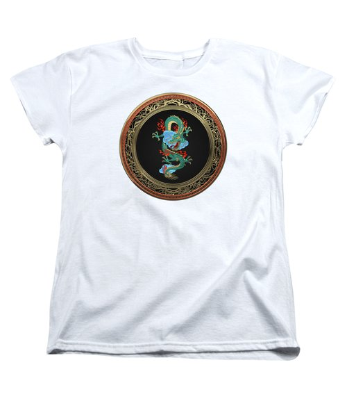 Treasure Trove - Turquoise Dragon Over White Leather Women's T-Shirt (Standard Cut) by Serge Averbukh