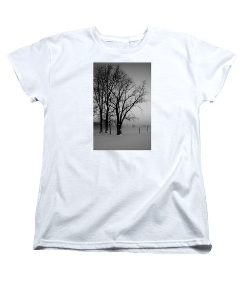 Women's T-Shirt (Standard Cut) featuring the photograph Trees In The Fog by Karen Harrison
