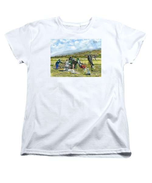 Women's T-Shirt (Standard Cut) featuring the painting Treshing Rice by Melly Terpening