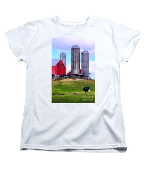 Women's T-Shirt (Standard Cut) featuring the photograph Trio Of Silos by Polly Peacock