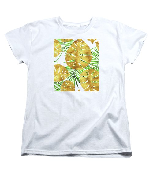 Tropical Haze II Gold Monstera Leaves And Green Palm Fronds Women's T-Shirt (Standard Fit)
