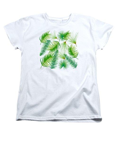 Tropical Leaves And Ferns Women's T-Shirt (Standard Cut) by Jan Matson