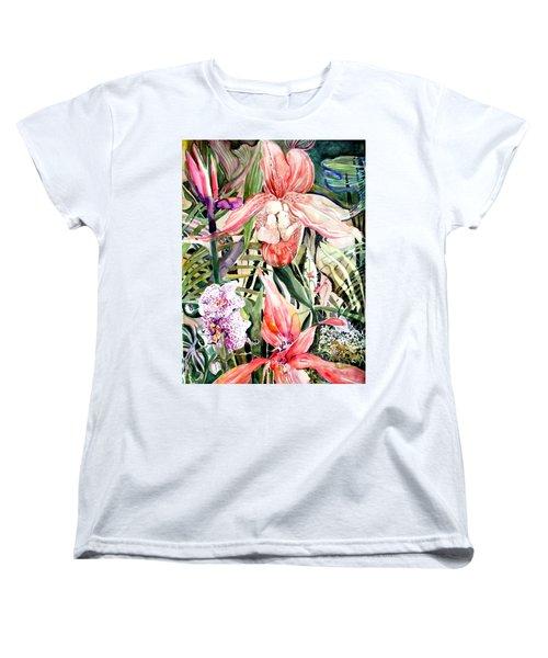 Tropical Orchids Women's T-Shirt (Standard Cut) by Mindy Newman