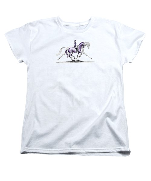 Women's T-Shirt (Standard Cut) featuring the drawing Trot On - Dressage Horse Print Color Tinted by Kelli Swan