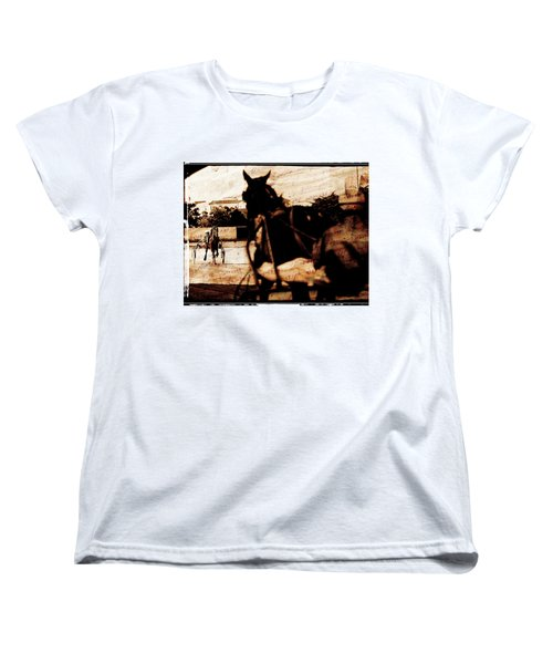 Women's T-Shirt (Standard Cut) featuring the photograph trotting 1 - Harness racing in a vintage post processing by Pedro Cardona