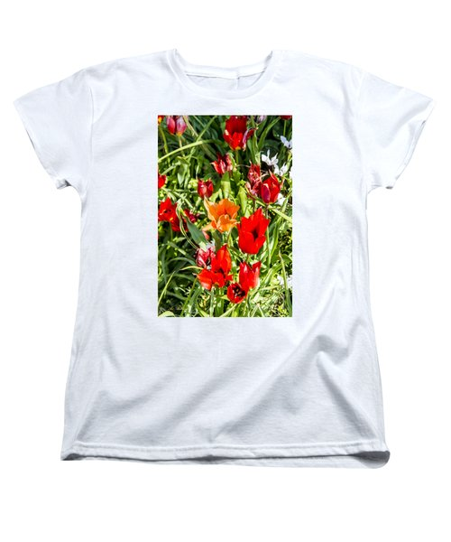 Women's T-Shirt (Standard Cut) featuring the photograph Tulip - The Orange One 03 by Arik Baltinester