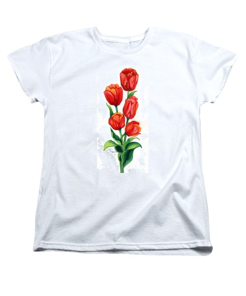 Women's T-Shirt (Standard Cut) featuring the painting Tulip Time by Barbara Jewell