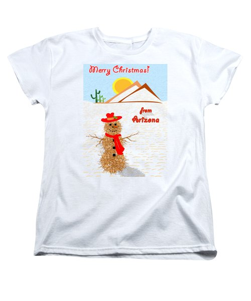 Tumbleweed Snowman Christmas Card Women's T-Shirt (Standard Cut) by Methune Hively