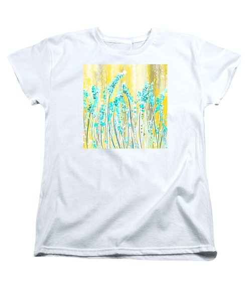 Turquoise And Yellow Women's T-Shirt (Standard Cut) by Lourry Legarde