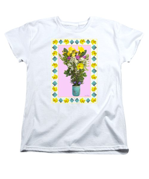 Turquoise Vase With Spring Bouquet Women's T-Shirt (Standard Cut) by Lise Winne