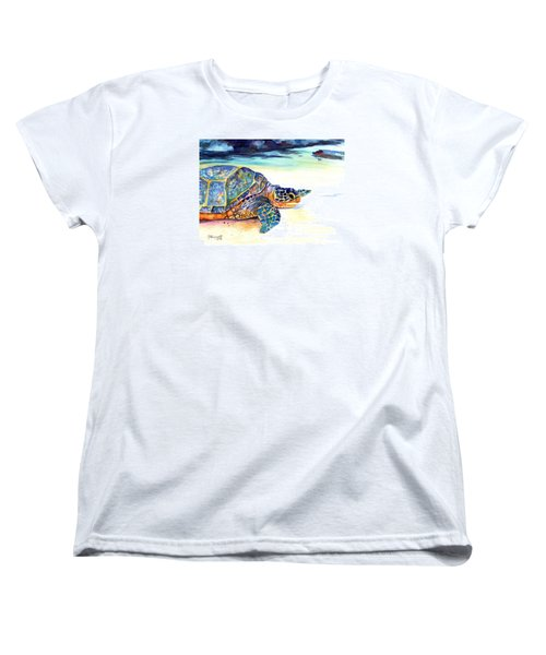 Women's T-Shirt (Standard Cut) featuring the painting Turtle At Poipu Beach 2 by Marionette Taboniar