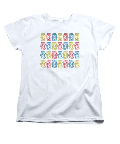 Women's T-Shirt (Standard Cut) featuring the drawing Twin Lens Camera Pattern by Setsiri Silapasuwanchai
