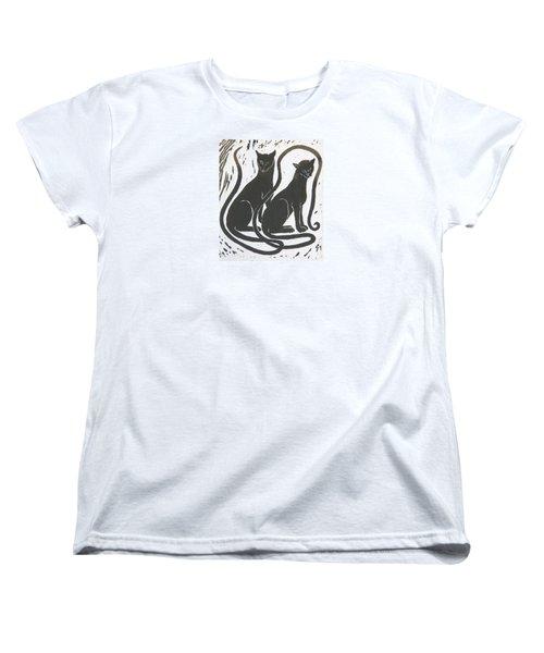 Women's T-Shirt (Standard Cut) featuring the drawing Two Black Felines by Nareeta Martin