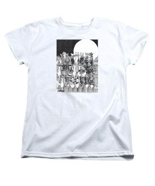 Women's T-Shirt (Standard Cut) featuring the drawing Two Dozen And One Cats by Seth Weaver