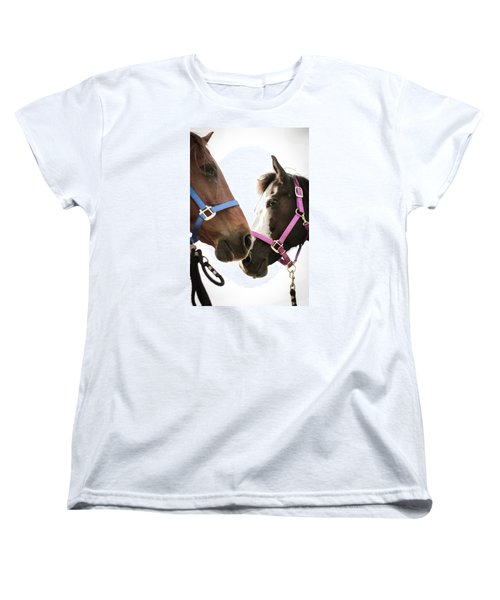 Two Horses Nose To Nose In Color Women's T-Shirt (Standard Cut) by Kelly Hazel