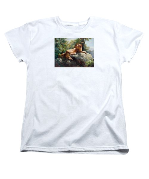 Two Lions - Forever And Always Together Women's T-Shirt (Standard Cut) by Svitozar Nenyuk