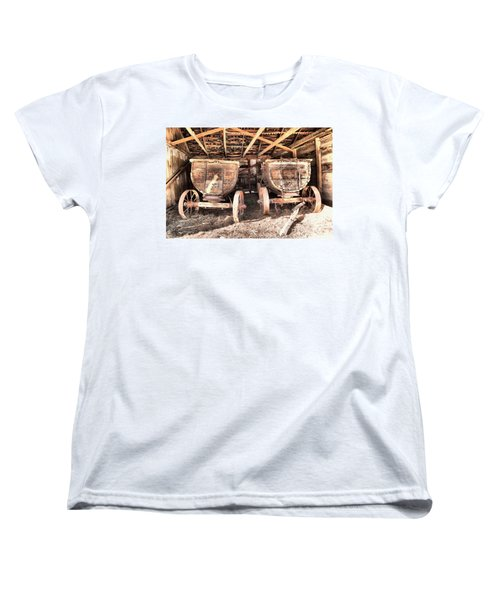 Women's T-Shirt (Standard Cut) featuring the photograph Two Old Wagons by Jeff Swan