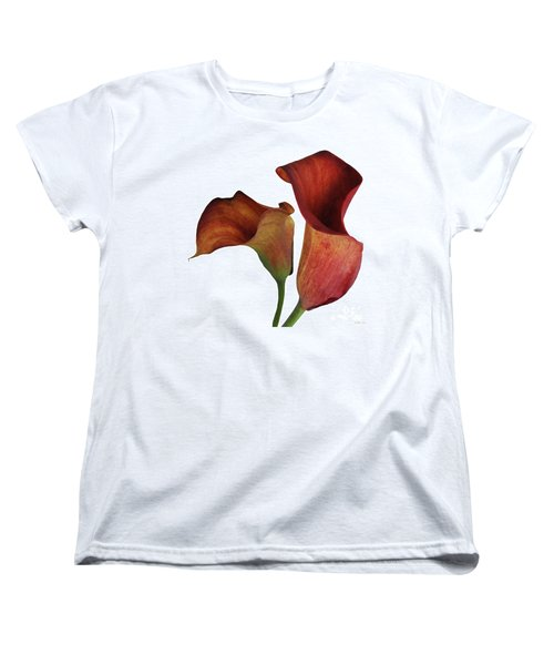 Two Rust Calla Lilies Square Women's T-Shirt (Standard Cut) by Heather Kirk
