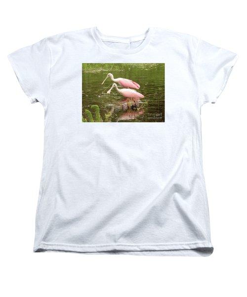 Two Spoonbills In Pond Women's T-Shirt (Standard Cut) by Carol Groenen