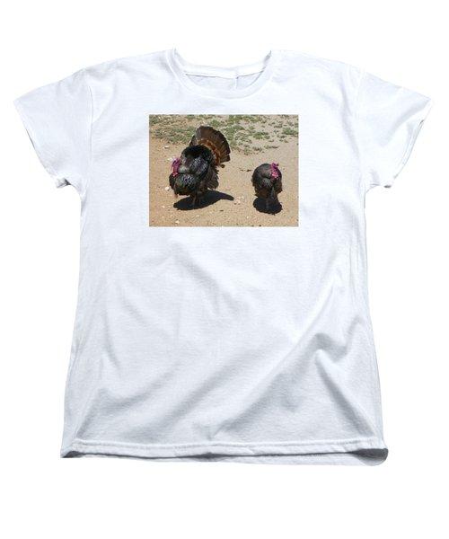 Women's T-Shirt (Standard Cut) featuring the photograph Two Turkeys by Joseph Frank Baraba