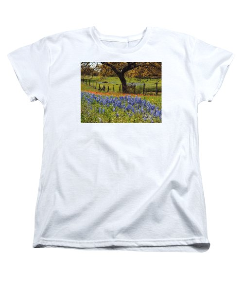 Women's T-Shirt (Standard Cut) featuring the painting Tx Tradition, Bluebonnets by Lisa Spencer