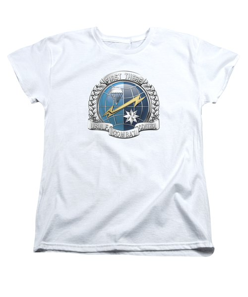 U. S.  Air Force Combat Control Teams - Combat Controller C C T Badge Over White Leather Women's T-Shirt (Standard Cut) by Serge Averbukh