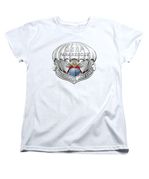U. S.  Air Force Pararescuemen - P J Badge Over White Leather Women's T-Shirt (Standard Cut) by Serge Averbukh