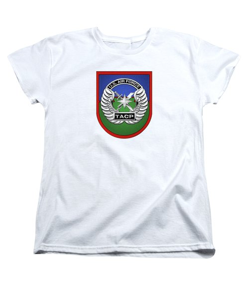 Women's T-Shirt (Standard Cut) featuring the digital art U. S.  Air Force Tactical Air Control Party -  T A C P  Beret Flash With Crest Over White Leather by Serge Averbukh