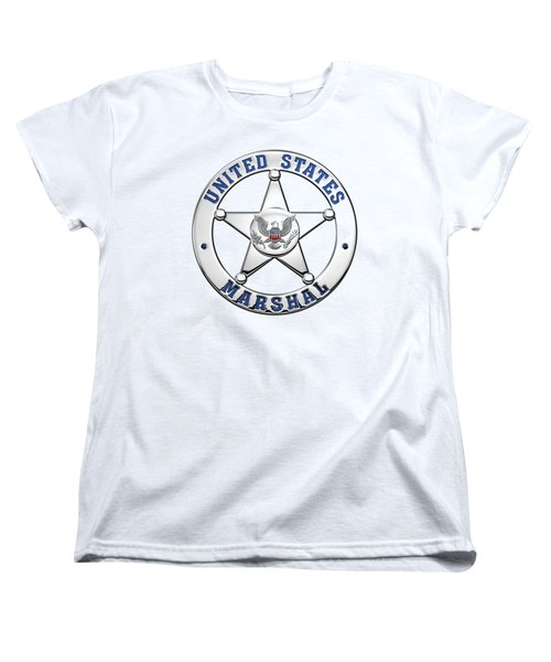 Women's T-Shirt (Standard Cut) featuring the digital art U. S. Marshals Service  -  U S M S  Badge Over White Leather by Serge Averbukh