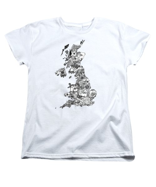 Uk Map Women's T-Shirt (Standard Cut) by Hannah Edge