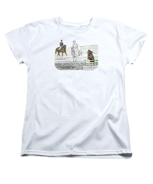 Ultimate Challenge - Horse Eventing Print Color Tinted Women's T-Shirt (Standard Cut) by Kelli Swan
