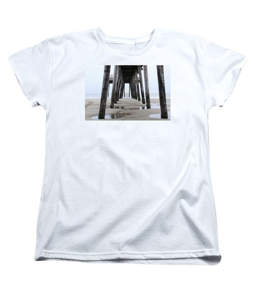 Women's T-Shirt (Standard Cut) featuring the digital art Under The Pier by Sharon Batdorf