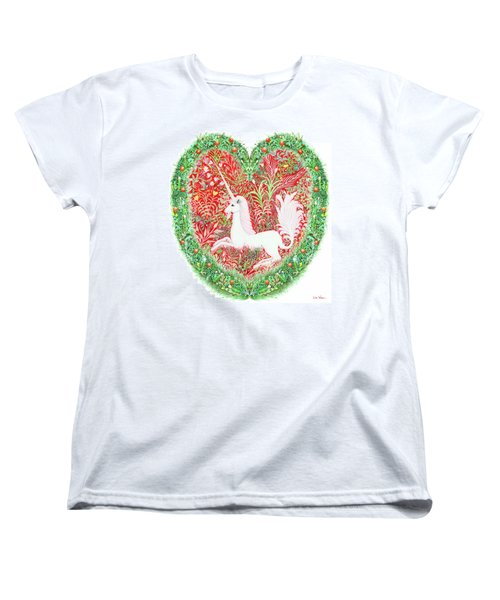 Unicorn Heart With Millefleurs Women's T-Shirt (Standard Cut) by Lise Winne