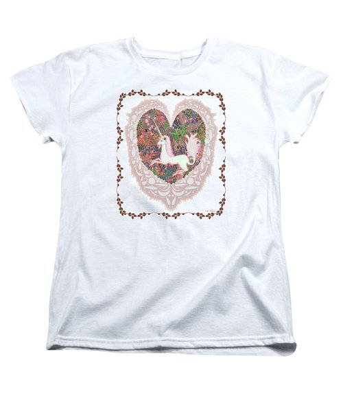 Unicorn In A Pink Heart Women's T-Shirt (Standard Cut) by Lise Winne