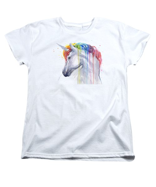 Unicorn Rainbow Watercolor Women's T-Shirt (Standard Cut) by Olga Shvartsur