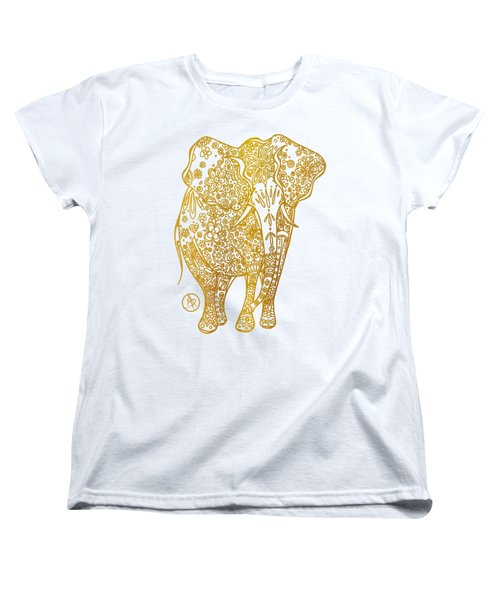 Unique Golden Elephant Art Drawing By Megan Duncanson Women's T-Shirt (Standard Cut) by Megan Duncanson