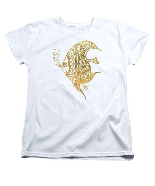 Unique Golden Tropical Fish Art Drawing By Megan Duncanson Women's T-Shirt (Standard Fit)