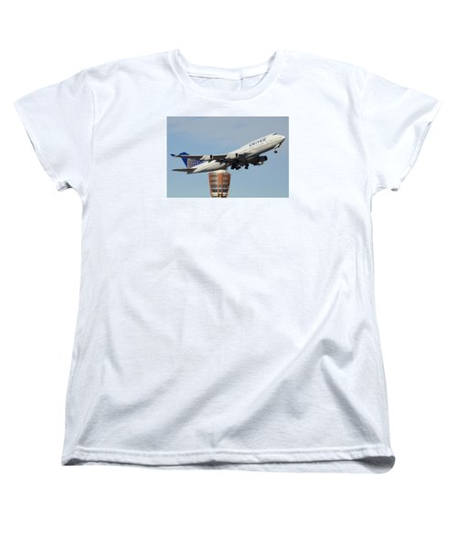 United Boeing 747-422 N128ua Phoenix Sky Harbor January 2 2015 Women's T-Shirt (Standard Cut) by Brian Lockett