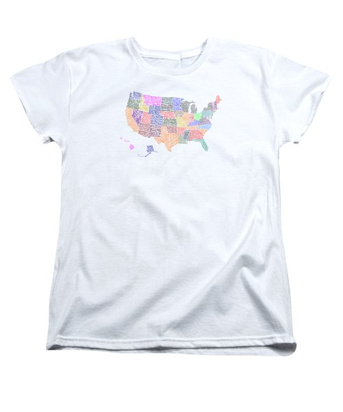 United States Musicians Map Women's T-Shirt (Standard Cut) by Trudy Clementine