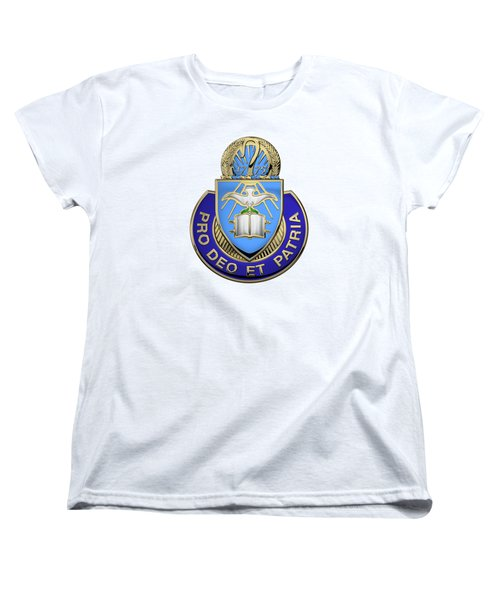 Women's T-Shirt (Standard Cut) featuring the digital art U.s. Army Chaplain Corps - Regimental Insignia Over White Leather by Serge Averbukh