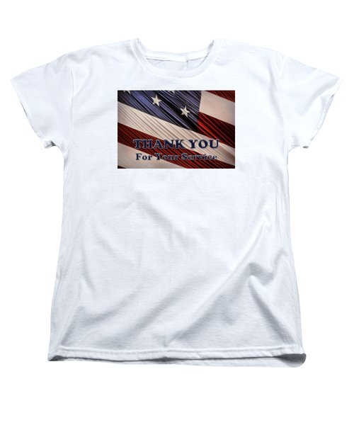 Women's T-Shirt (Standard Cut) featuring the photograph Usa Military Veterans Patriotic Flag Thank You by Shelley Neff
