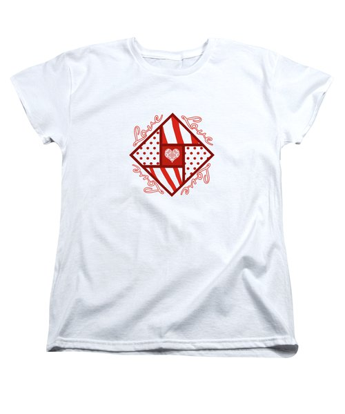 Women's T-Shirt (Standard Cut) featuring the digital art Valentine 4 Square Quilt Block by Methune Hively